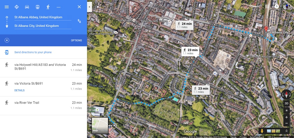 The walking route between the two stations (extracted from google maps)