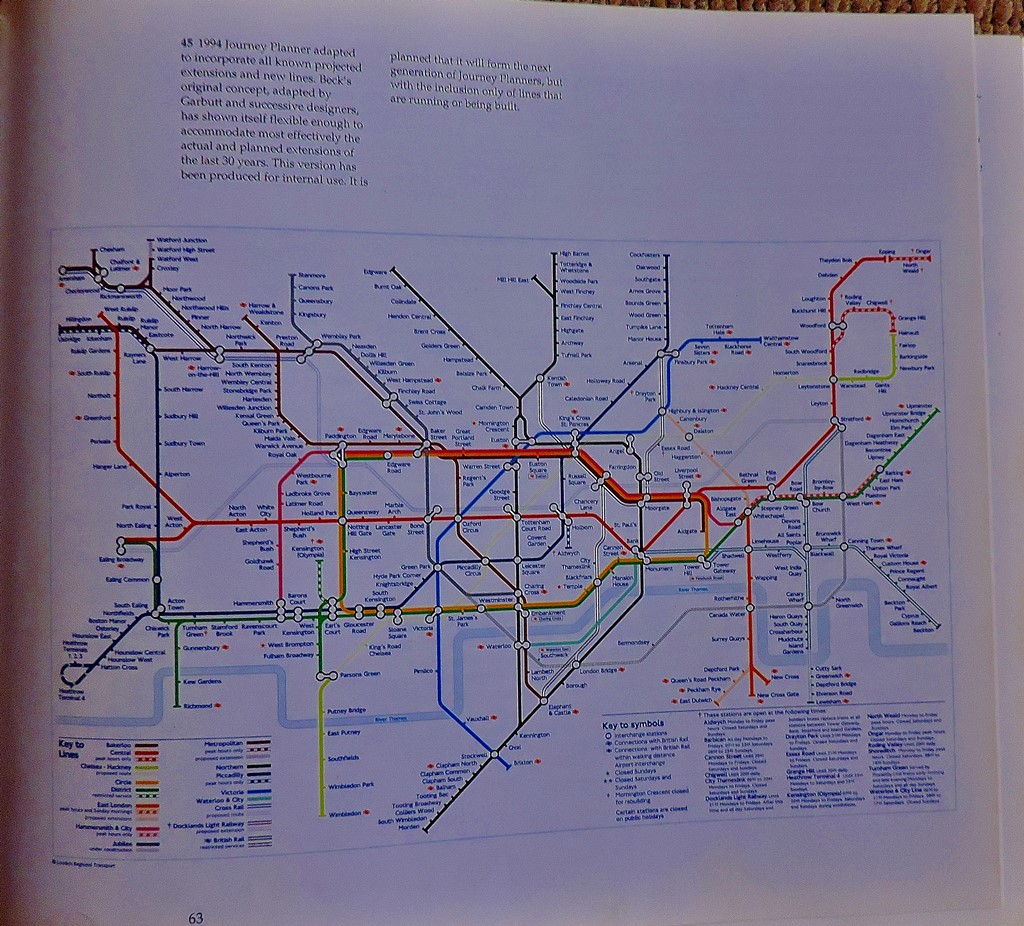 A speculative 1994 journey planner showing some potential extensions (the Jubilee and East London line extensions have happened, with the latter being subsumed into London Overground).