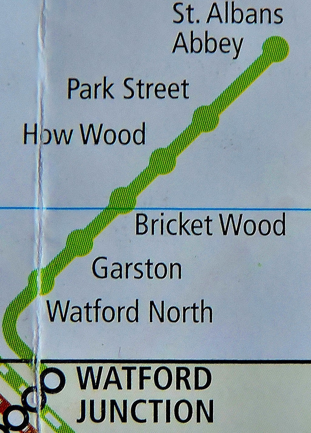 A closer focus on the branch and two St Albans stations.