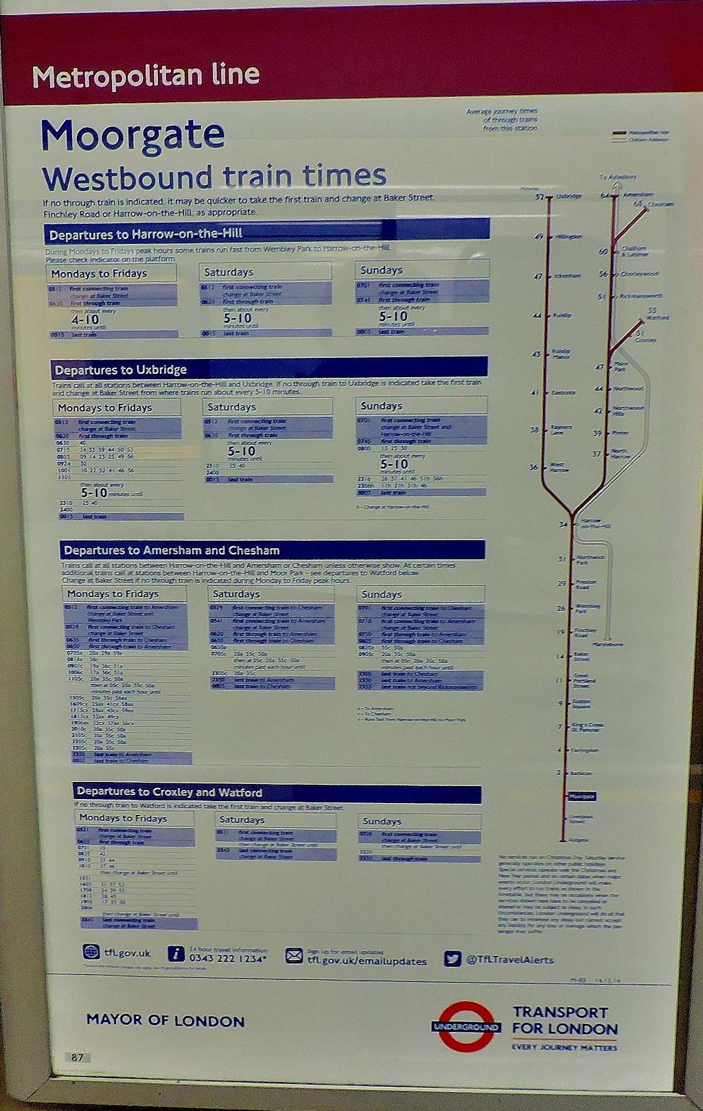 Metropolitan timetable