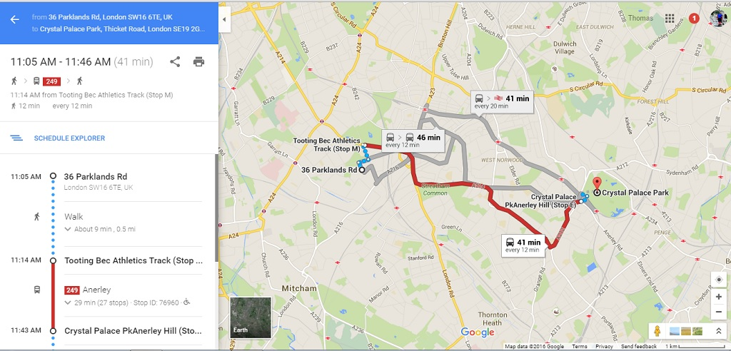This shows the public transport option (and btw nine minutes for the walk down to the running track bus stop is a risible over estimate - five would be more accurate)