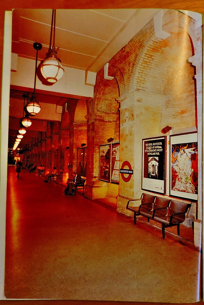 The inside back cover of the Piers Connor book - a look along one of the restored platforms at Gloucester Road.