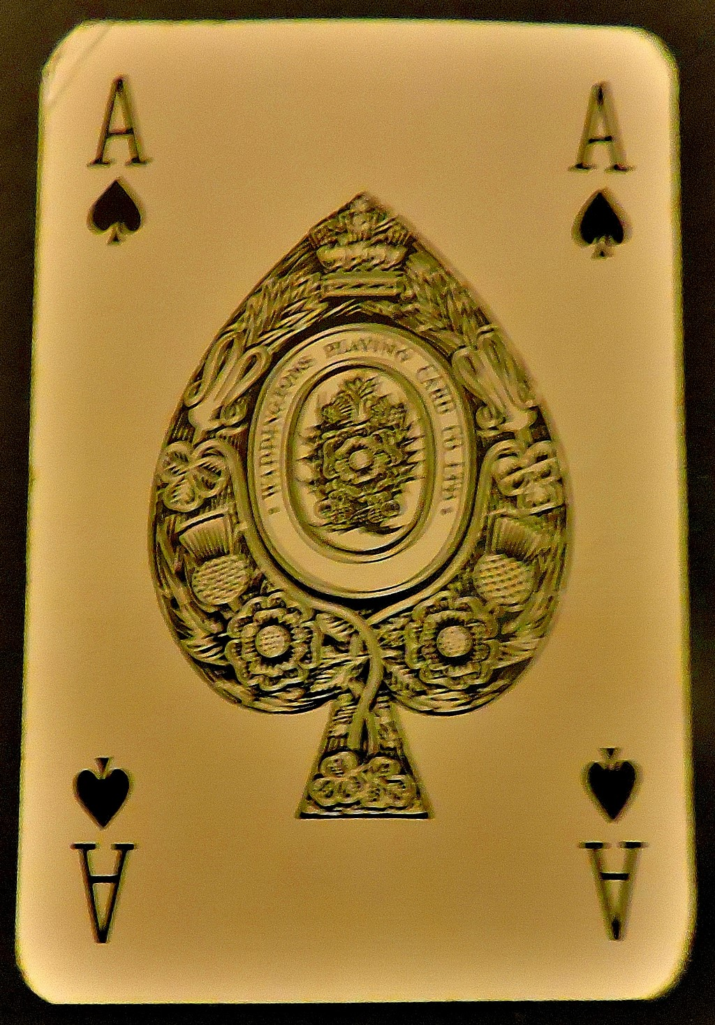 The traditional English ace of spades - the reason for this fancy card is that back in the day playing cards were heavily taxed, and manufacturers were only allowed to make 51 of the playing cards, receiving the ace of spades to complete the deck once they had paid the tax.