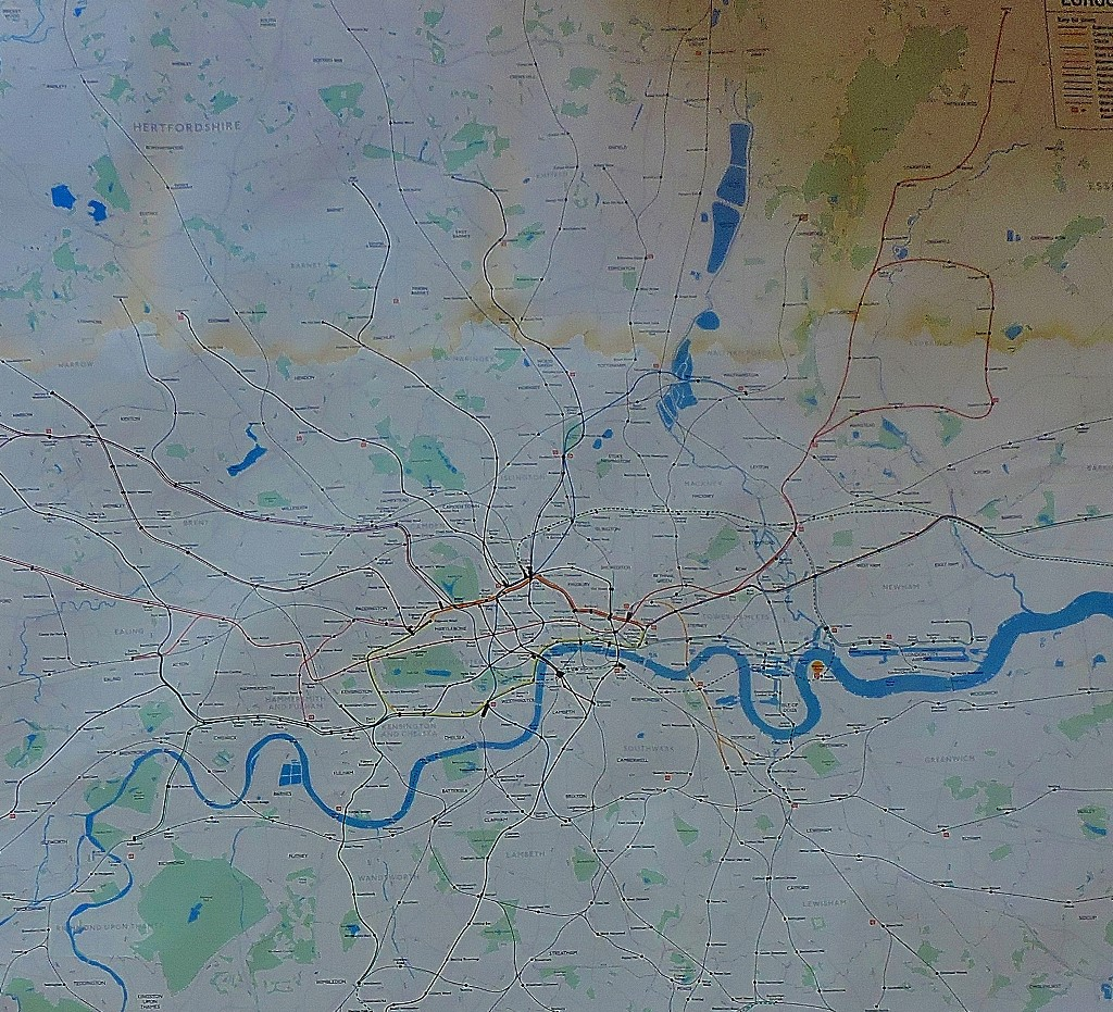 A geographical look at the territory covered by the Jubilee line (when this map was mad, the Stratford extension was under construction).
