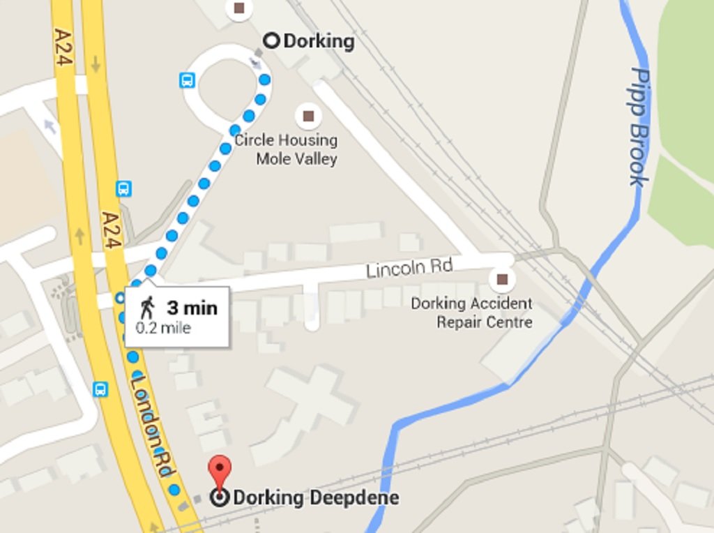 A map, courtesy of google, showing the short distance between Dorking main station and Dorking Deepdene
