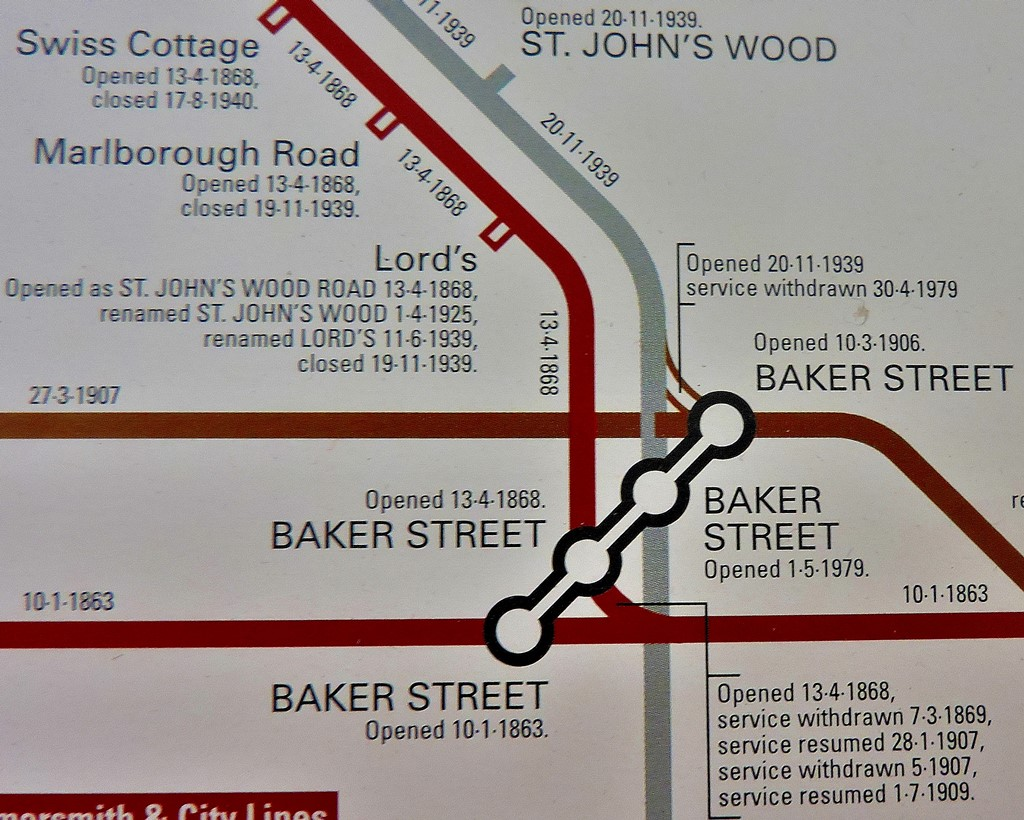 The Baker Street element - note that although not used for passenger services the Bakerloo line still has a track link to the Jubilee, sometimes used for rolling stock transfer.