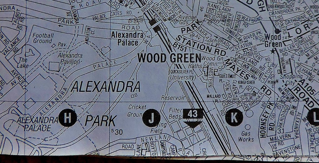 As this shows, Alexandra Palace and Wood Green are very close - and the two stations (one rail, one underground) are both comfortably walkable from the main attraction.