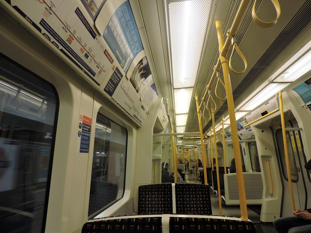 Looking along a new Metropolitan line train.