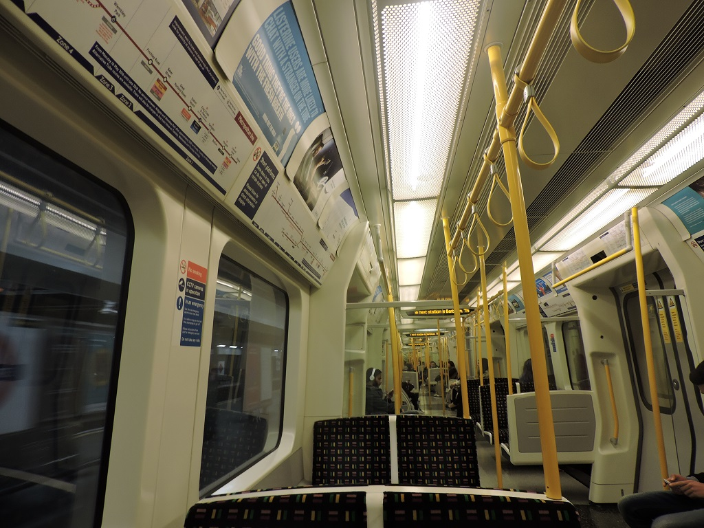 Looking along a new Metropolitan line train.